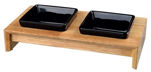 Napf-Set Keramik/Holz 2x0,2l 28x5x15 cm