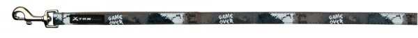 Leine game over L-XL 1,20m 20mm schwarz grau