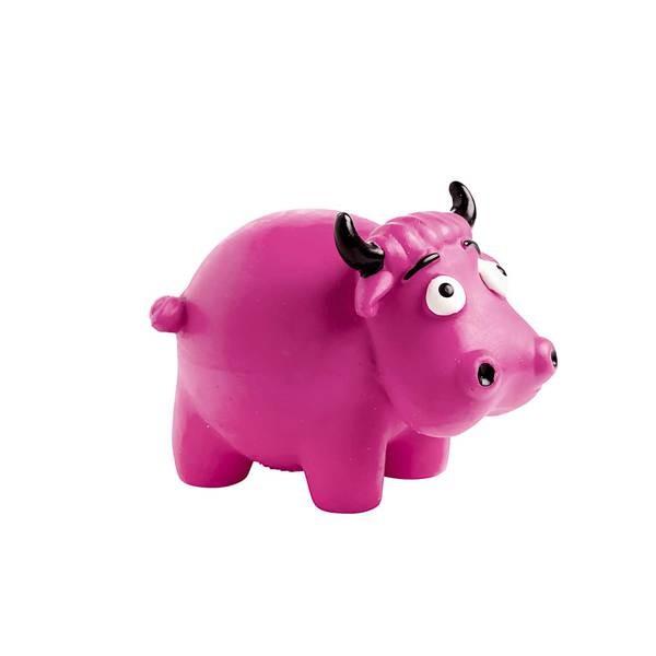 Kuh aus Latex mit Quietsche, pink, 8 cm