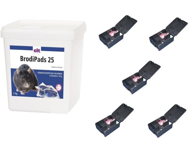 Brodipads < 0,0029% Rattengift 3 kg Rattenköder Mäusegift + 5 x Mäuseköderboxen