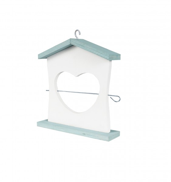Futterhalter Kiefernholz zweifarbig, weiss/blau, 5/1x19xH:20cm