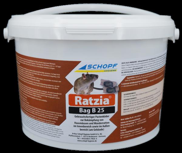 Ratzia Bag B 25 Rattengift 3 kg Rattenköder Mäusegift Brodifacoum Pastenköder < 0,0029 %