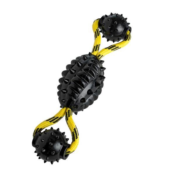 Vollgummi- Football mit Seil gelb/schw., 30 cm