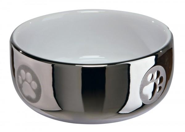 Keramiknapf Katze 0,3l Ø 11cm silber/weiß