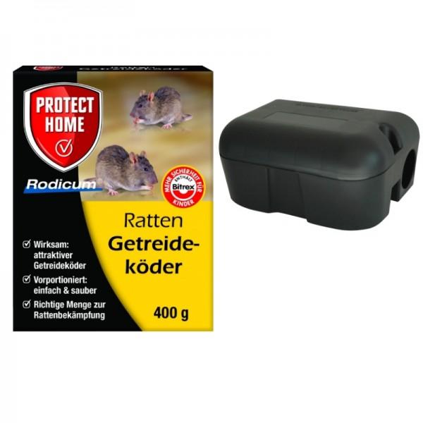 Set Rodicum Getreideköder 400g + Köderbox Rattengift Rattenköder Rattenbekämpfung